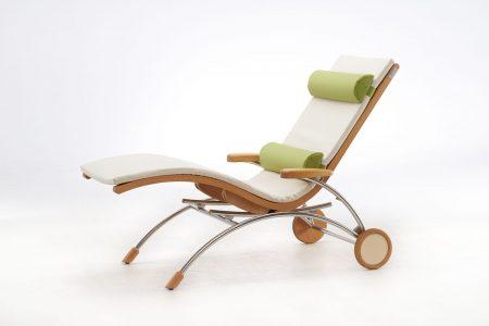 Relaxliege Siesta Classic Wellnessliege Holz Saunaliege in Kernbuche
