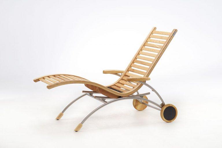 Relaxliege Siesta Classic Wellnessliege Holz Saunaliege in Esche