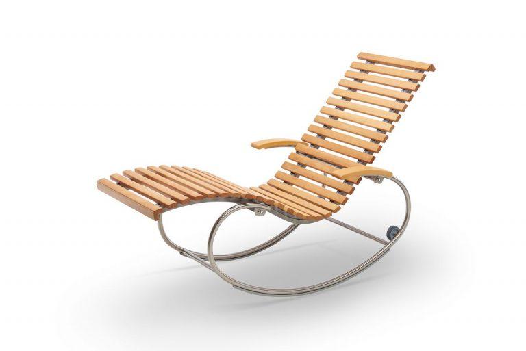 Relaxliege Siesta Pur Holz Edelstahl Schwingliege in Kernbuche