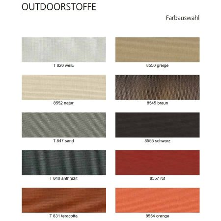 Outdoor Bezugsstoff Farben